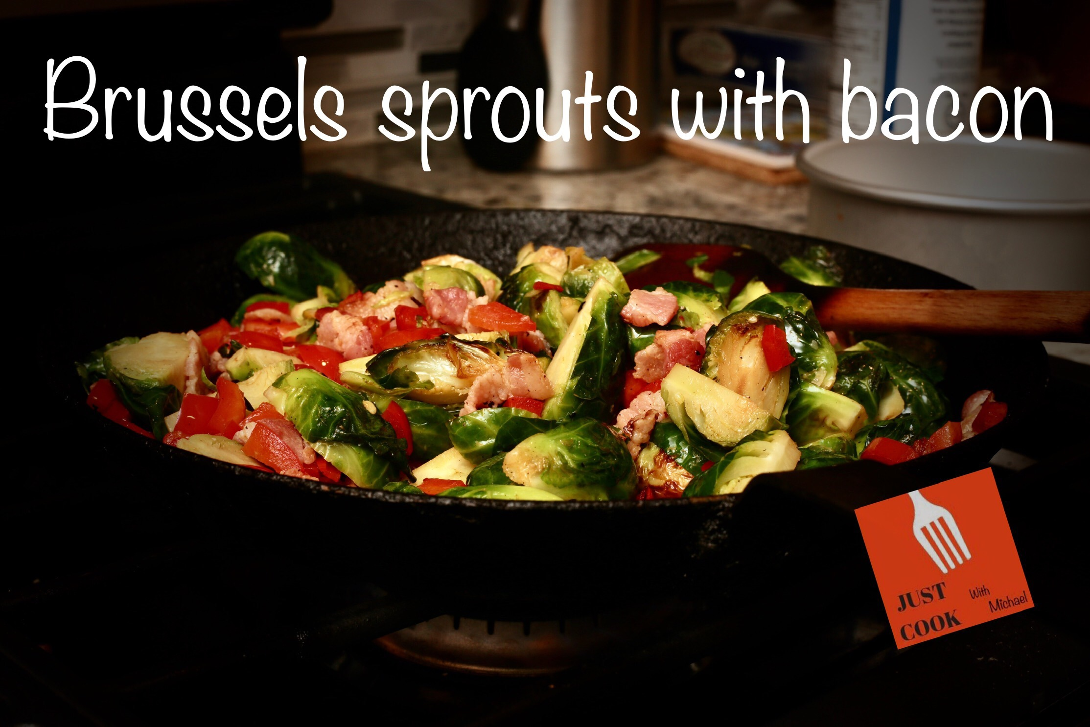 Crispy pan sauteed brussels sprouts with bacon