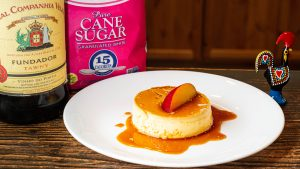 Flan with sugar in the background