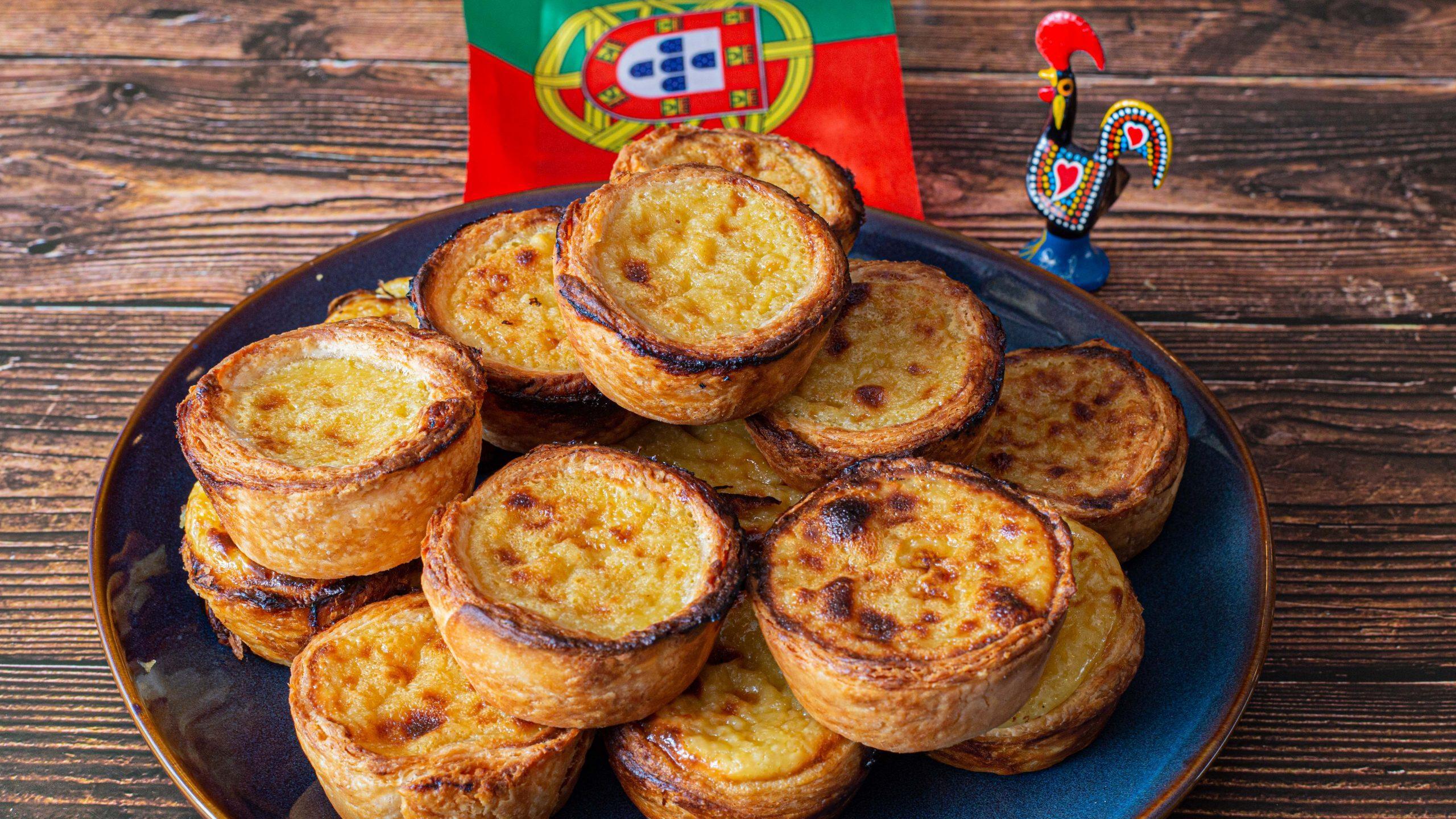 Pasteis de Nata, Portuguese Custard Tarts stacked