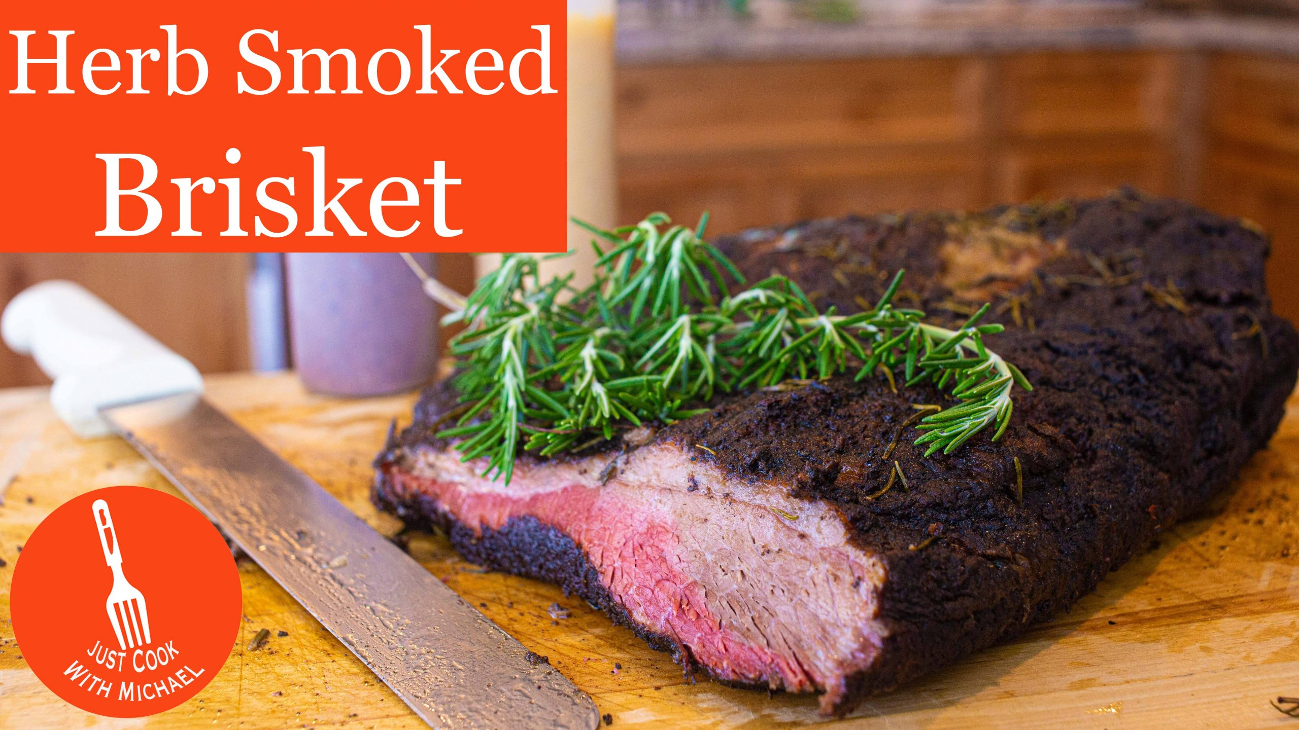 Mediterranean Herb Smoked Barbecued Brisket with piece sliced