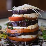 Fresh stacked eggplant parmesan