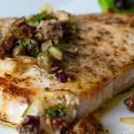 Swordfish with a Mediterranean olive tapinade