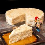 Bolo de Bolacha Maria, Portuguese cookie cake with slice cut out